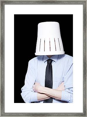 Business Person Under Stress Wearing Paper Bin Framed Print by Jorgo Photography - Wall Art Gallery