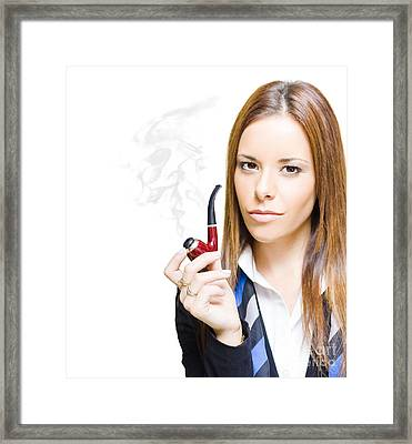 Business Visionary With A Pipe Dream Framed Print