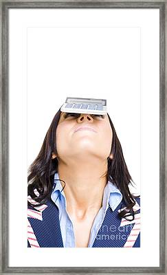 Business Woman Balancing Finance Accounts Framed Print by Jorgo Photography - Wall Art Gallery