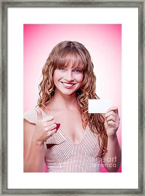 Business Woman Handing Over A Blank Business Card Framed Print by Jorgo Photography - Wall Art Gallery
