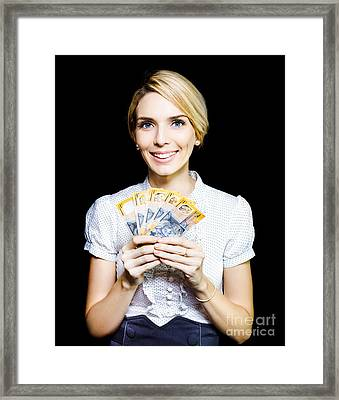 Business Woman Holding A Cash Bonanza Framed Print