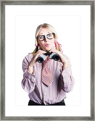 Business Woman With Binoculars Framed Print by Jorgo Photography - Wall Art Gallery