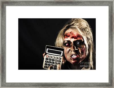 Business Woman With Calculator. Halloween Sale Framed Print by Jorgo Photography - Wall Art Gallery