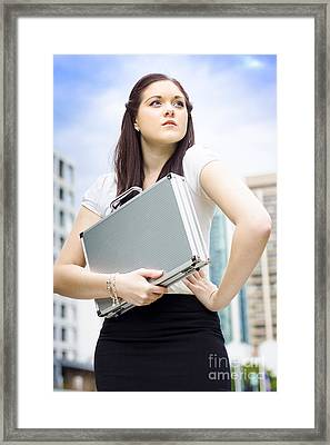 Business Woman With Dreams Aspirations And Goals Framed Print by Jorgo Photography - Wall Art Gallery
