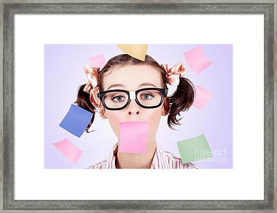 Business Womans Face Covered In Paper Reminders Framed Print
