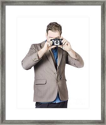 Businessman Capturing Photo Framed Print by Jorgo Photography - Wall Art Gallery