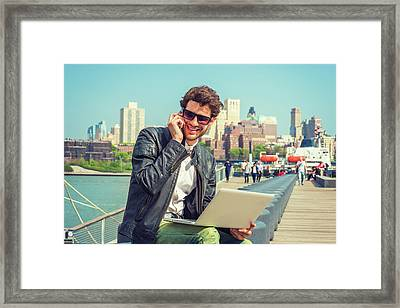Businessman Enjoying Working Outside Framed Print