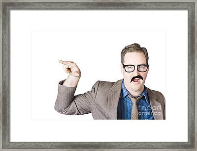 Businessman Gesturing With Finger Framed Print