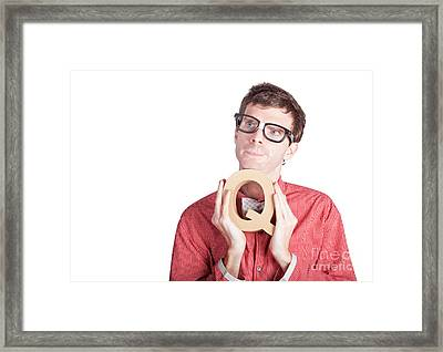 Businessman Holding Q For Question Framed Print by Jorgo Photography - Wall Art Gallery