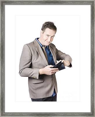 Businessman Holding Wallet Framed Print