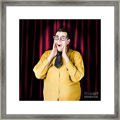 Businessman In Performance Review Spotlight Framed Print