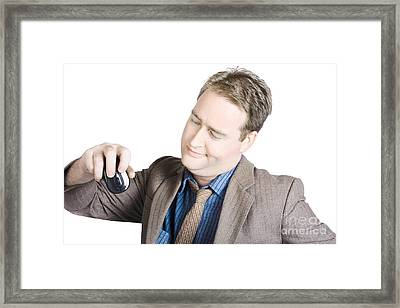Businessman Looking At Computer Mouse Framed Print