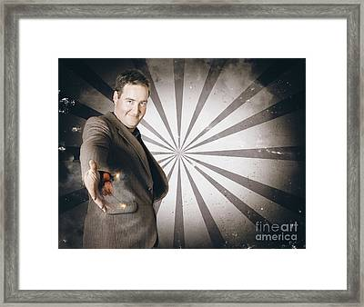 Businessman Offering Dishonest Dynamite Handshake Framed Print by Jorgo Photography - Wall Art Gallery