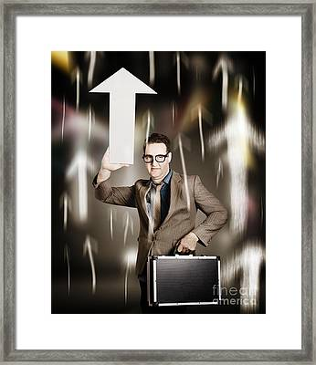 Businessman Pointing Up With White Arrow Symbol Framed Print by Jorgo Photography - Wall Art Gallery