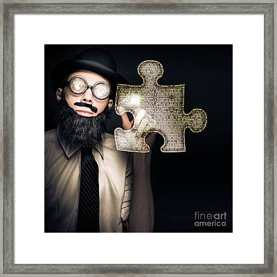 Businessman Puzzle Solving With Digital Solutions Framed Print by Jorgo Photography - Wall Art Gallery