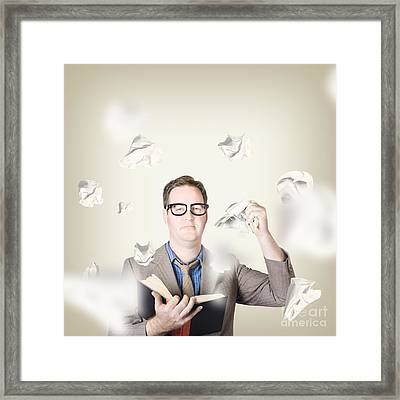 Businessman Revising Strategy In Choice For Change Framed Print