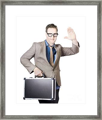 Businessman Showing Hand Holding Briefcase Framed Print by Jorgo Photography - Wall Art Gallery