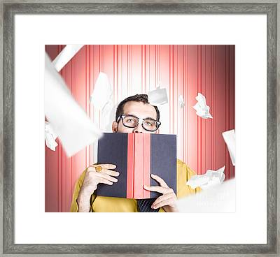 Businessman Studying Stats And Data Statistics Framed Print by Jorgo Photography - Wall Art Gallery