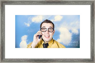 Businessman Talking The Talk. Cloud Background Framed Print