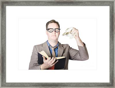Businessman Tearing Pages From Book Framed Print by Jorgo Photography - Wall Art Gallery