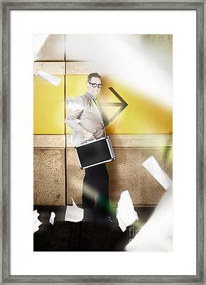 Businessman Walking In Direction Of Road Arrow Framed Print by Jorgo Photography - Wall Art Gallery