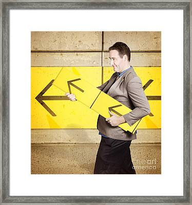 Businessman With Arrow Sign Signalling Growth Framed Print by Jorgo Photography - Wall Art Gallery