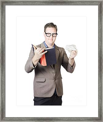 Businessman With Book And Crumpled Paper Framed Print