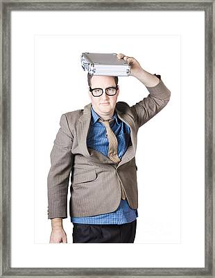 Businessman With Briefcase Overhead Framed Print by Jorgo Photography - Wall Art Gallery