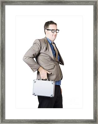 Businessman With Silver Briefcase Framed Print by Jorgo Photography - Wall Art Gallery