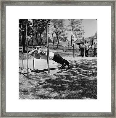 Businessmen Get Exercise Framed Print by Underwood Archives