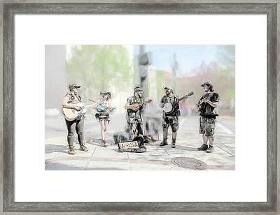 Busker Quintet Framed Print