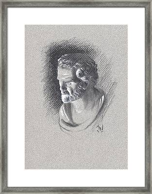 Framed Print featuring the drawing Bust 473 by Joe Winkler