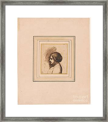 Bust Length Portrait Of A Woman In Profile Framed Print by MotionAge Designs