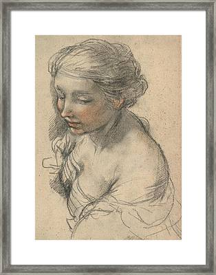 Bust Of A Young Woman Turned To The Left Framed Print by Pietro da Cortona