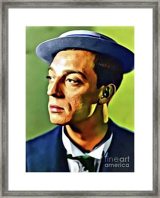 Buster Keaton, Hollywood Legend. Digital Art By Mb Framed Print