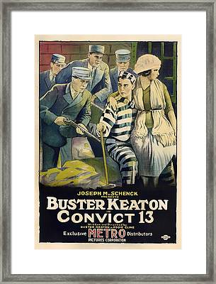 Buster Keaton In Convict 13 1920 Framed Print by Mountain Dreams
