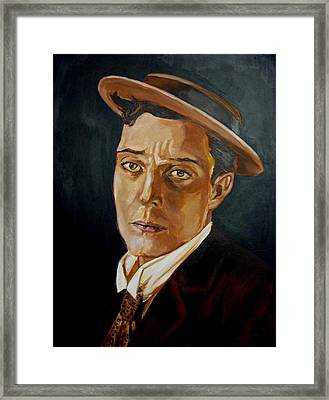 Framed Print featuring the painting Buster Keaton Tribute by Bryan Bustard