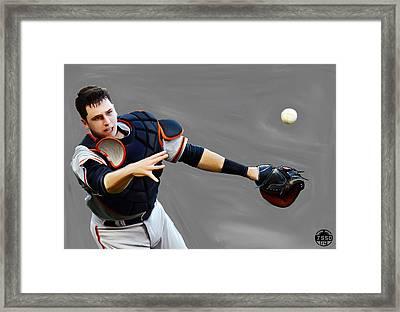 Buster Posey Framed Print by Jeff DOttavio