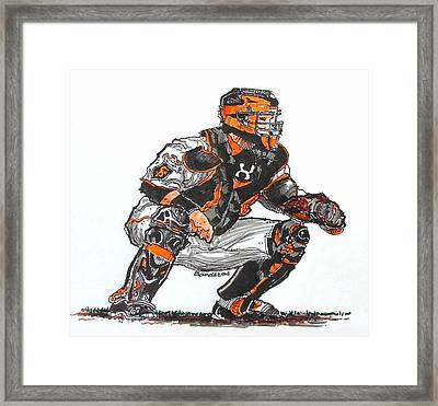 Framed Print featuring the painting Buster Posey by Terry Banderas