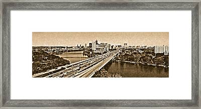 Busy Austin In Lithograph  Framed Print