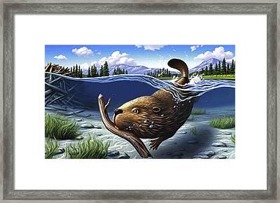 Busy Beaver Framed Print
