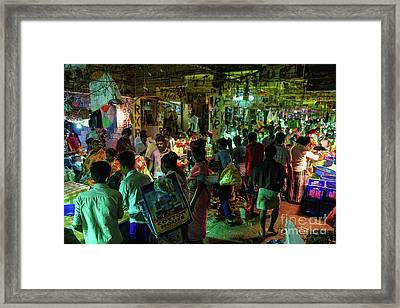Framed Print featuring the photograph Busy Chennai India Flower Market by Mike Reid