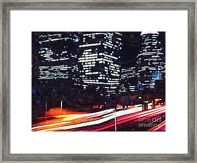 Busy City At Night Framed Print by Deborah MacQuarrie-Selib