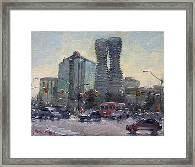 Busy Morning In Downtown Mississauga Framed Print by Ylli Haruni