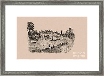 Busy Richmond Bridge And Fishermen Framed Print