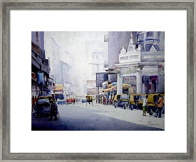 Busy Street In Kolkata Framed Print by Samiran Sarkar