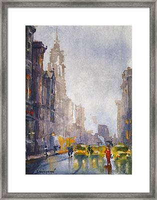 Busy Streets Of New York Framed Print by Kristina Vardazaryan