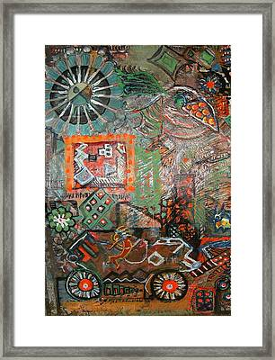 Busy Wheels And Things Framed Print by Anne-Elizabeth Whiteway