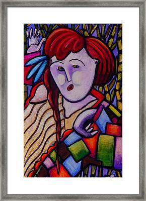 Butah Dancer Wearing Quilot Framed Print by Angelina Marino