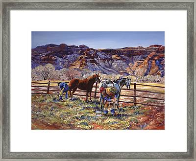 Butch And Clayton  Swapping Shoes And Tales Framed Print by Page Holland